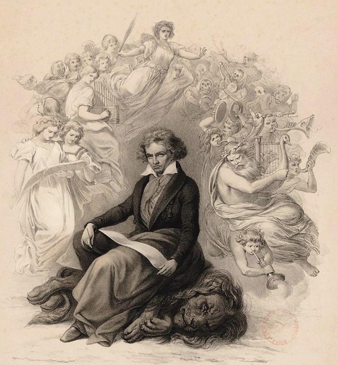 D-apres-Joseph-Charles-Stieler-Beethoven-terrassant-un-lion-symbole-de-monarchie©Gallica-BnF